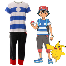 Anime Pokemon Sun and Moon Ash Ketchum Go Pocket Monster Cartoon Cosplay Cotton T-shirt+short pants cotton Anime Exhibition