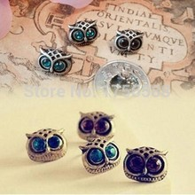 E018 2017 new hot sell cute korea style retro green big eyes owl earrings for women jewelry free shipping