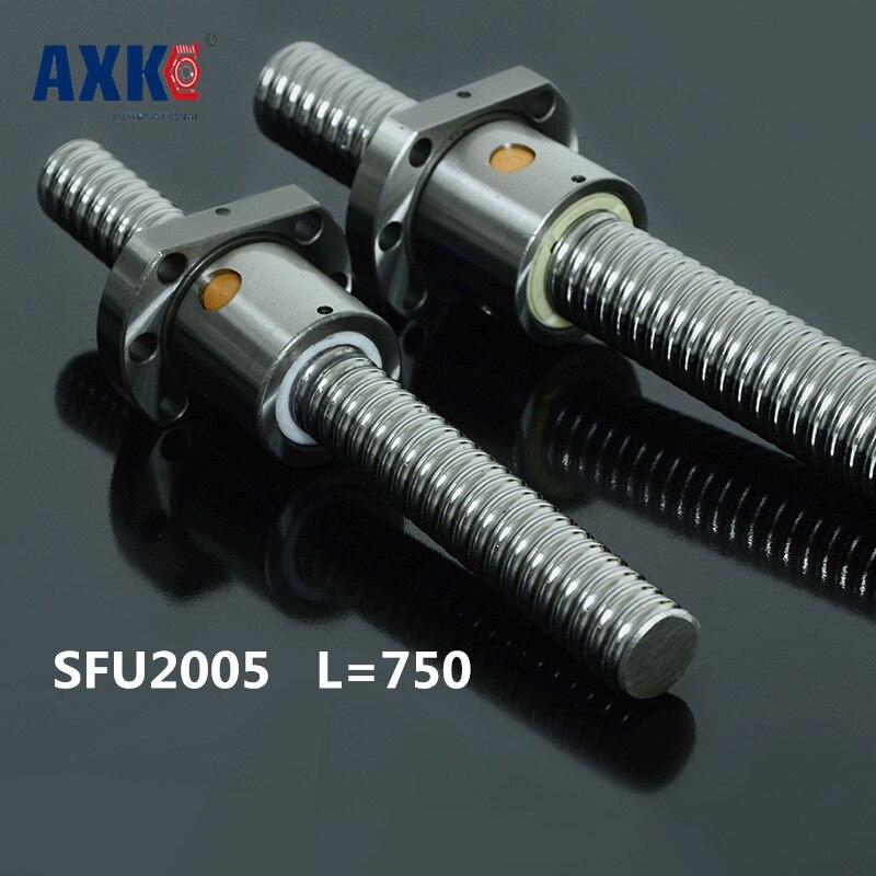 Zero Backlash Ball screws 2005 -L 750mm + 1pcs SFU2005 single ballnut / end machining is optional for CNC Linear Working Table<br>