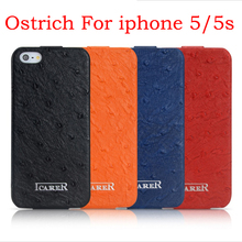 Ostrich pattern Real Genuine leather flip case for iphone 5 5S icarer brand free shipping MOQ 1pc wholesale discount price