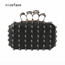 2017 Women messenger bag brand fashion new unique Wallet Cool Patry fashion shoulder hand bag lady Punk Skull Character clutch(China)