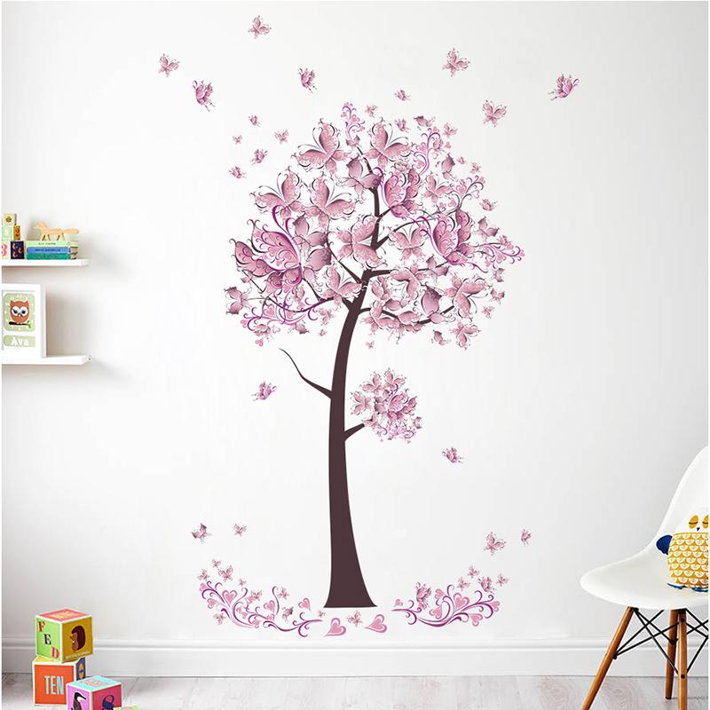 HTB1j6f1inCWBKNjSZFtq6yC3FXa2 - Pink butterfly flower Tree Wall Stickers