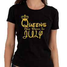 Fashion 2017 Top Tees Gildan Short Sleeve Gift Crew Neck Womens Queens Are Born In July Lady Birthday Gold Logo Shirts