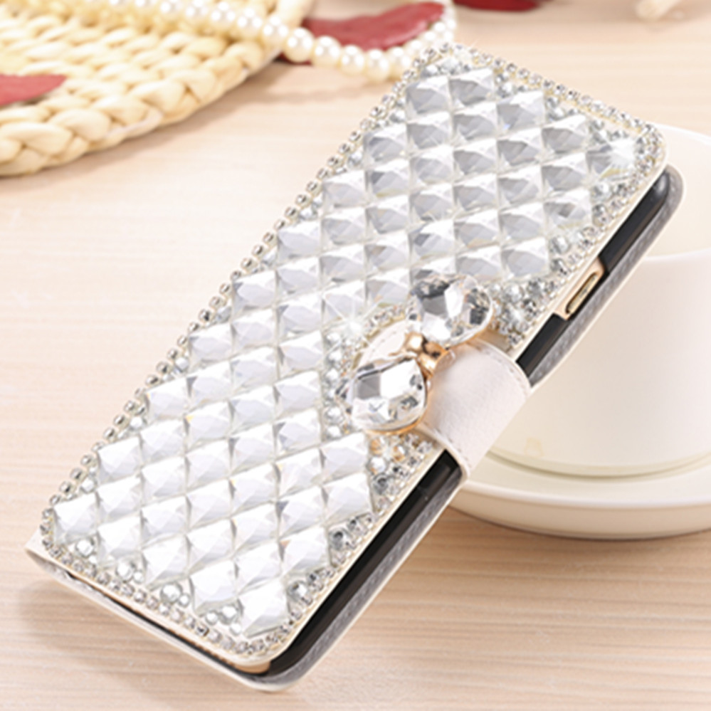 Diamond Rhinestone Wallet Case for Blackberry Q20 Q30 Priv Venice Z3 DTEK50 DTEK60 Leap Passport Silver Edition Kickstand Case(China)