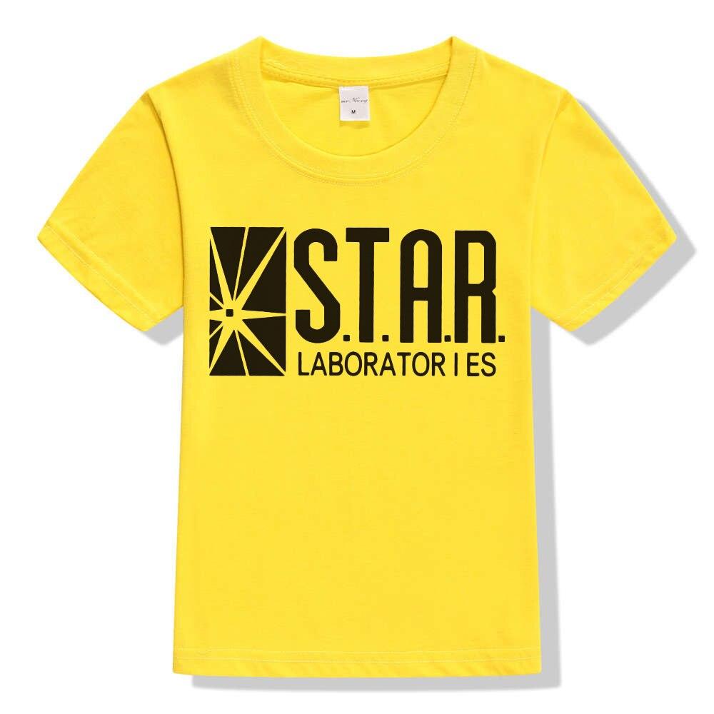 3-10Y Kids Black Star Lab Letter Print Short Sleeve T Shirt Boys Novelty T-shirt Girls Tshirt Clothes Anime Comics The Flash 7