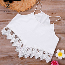 ZAN.STYLE Women Lace Hem Cami Top Summer Sleeveless Halter Strap Cropped Top White Lace Crochet Patched Girl'S Tank Top Bralette(China)