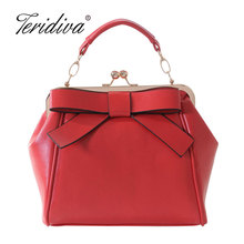 Teridiva Women Red and Black Shoulder Bags Vintage Bow Messenger Bag Shoulder Handbag Metal Frame Bag Women Tote Bag Bolsos(China)