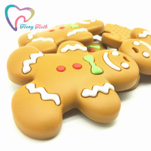Teeny Teeth 10 pcs new christimas teether,gingerbread cookie pendant,food grade gingerbread man chew toy,christmas gingerbread(China)