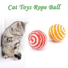 1pc Ball Dog Rope Weave Chew Toys Sport Sisal Braided Cat Play Chewing Catch Toy Trapped Ball Training Tool for Animal Supply