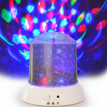 Colorful LED lights 360 degree rotating star projector KTV stage lighting lamp bedside night light dream star