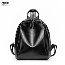 PONGWEE High Quality Genuine Leather Women Backpack Vintage School Backpack For Girls Brand Designer Bags Best Gift
