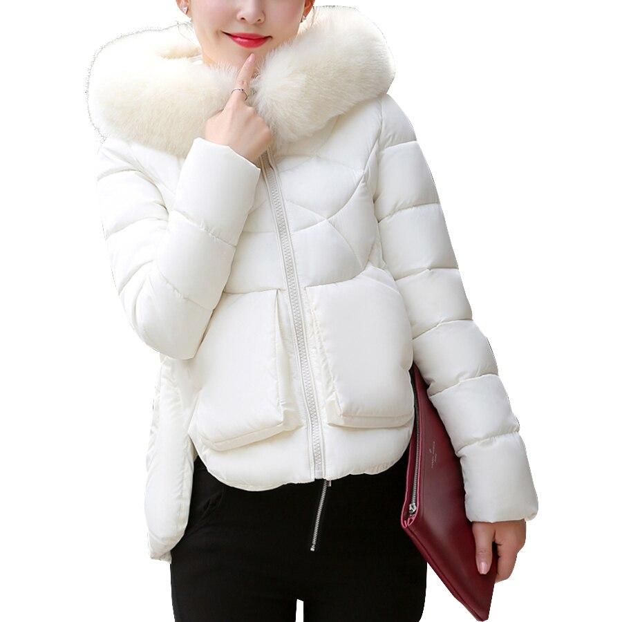 Brand women coat 2017 Winter jacket women Cotton Padded Short Coat Fur Collar Hood Parka Slim Jackets Female Thick Warm Outwear Îäåæäà è àêñåññóàðû<br><br>