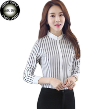 QBK DPU brands Business attire summer OL plaid striped shirt tops 2017 new arrival plus size women clothing and chemise femme(China)