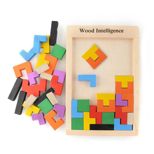 Colorful 3D Wooden Tangram Brain Teaser Puzzle Toys Tetris Game Kids Preschool Intellectual Development Toy Wooden Jigsaw Board(China)