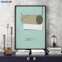 AFFLATUS Canvas Painting Modern Minimalism Cool Letter Wall Art Painting Canvas Poster Prints Wall Pictures Bathroom Home Decor