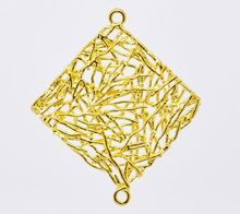 DoreenBeads Retail Gold color Square Filigree Earring Pendants 31x27mm,sold per pack of 10