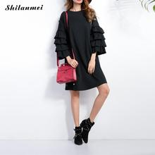 2016 Eelgant Layered Ruffled Runway Dress Women's Flare Sleeve O Neck Cascading Autumn Black Mini Shift Dresses Vestido