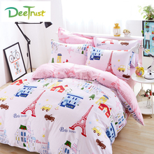 London Bedding Set 4pcs Cotton Cartoon Duvet Cover Bed Sheet Pillowcases Bedroom Textile Bed Linen Full King Queen Kids Bed Set