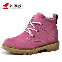 Z.SUO Brand 362N Autumn New Fashion Women's Short Boots British Vintage Classic Style Cow Suede Lace-Up Girls Ankle Boots(China)