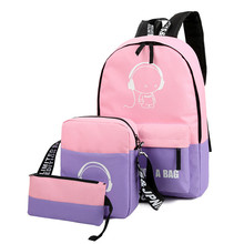 3Pcs New Luminous Women Fashion Backpacks School Bags Fluorescence Rucksack for Teenager Girls Cartoon Design Book Bag Mochila