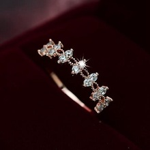 Classic Lace Double Layers Zircon Wedding Rings For Women Cute Hemp Flower Jewelry Rings Engagement