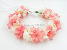 3pcs/lot Women Floral Fairy Hair Garland Pink Hortensia Flower Head Crown Forest Party Decorations Seaside Vacation Headpieces