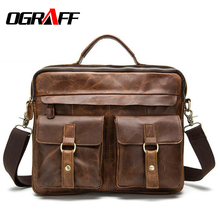OGRAFF Genuine Leather Bag Men Messenger Bags Handbag Briescase Business Men Shoulder Bag High Quality 2017 Crossbody Bag Men