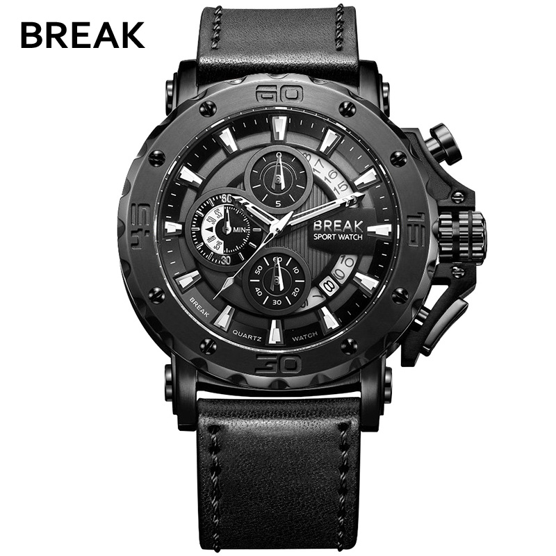 BREAK Top Luxury Brand Fashion Casual Watch Men Chronograph Quartz Military Genuine Leather Relogio Masculino Sport Wrist Watch<br>