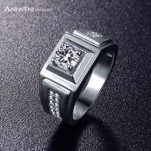 ANFASNI 2017 High Quality Fashion Men Wedding Wide Finger Rings Rhodium  Micro Pave Square Shape For Party Bague CRI0406-B