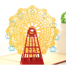 2016 Hot Papercraft Pop-Up 3D Ferris Wheel Valentine Cards May Love Goes Round And Round for Wedding Party Decor Gift Yellow