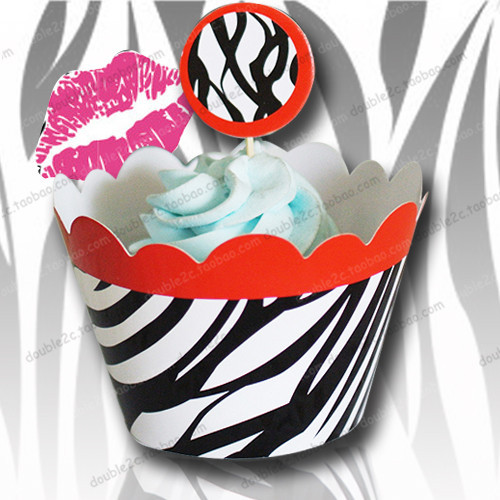 Cupcake liners,cupcake wrapper pattern,topper for cupcakes,Zebra Lady Design,cakes and cupcakes decoration,even&party supplies(China)
