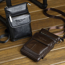 New Men's Vintage Genuine Leather Cowhide Hook Belt Buckle Shoulder Messenger Crossbody Fanny Waist Bag Wallet Belt Pouch