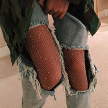Buy Sought-After New Women Crystal Rhinestone Fishnet Elastic Stockings Fish Net Tights Pantyhose