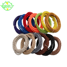 2x0.75 Vintage Electrical rope Wire Twisted Cable Retro Braided Fabric Wire DIY led pendant lamp wire vintage lamp cord(China)