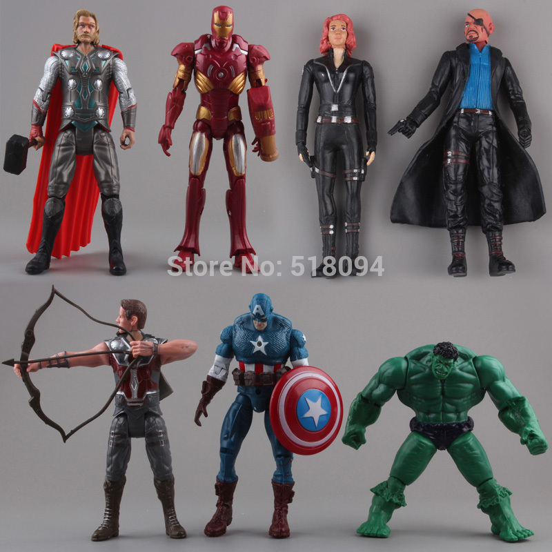 The Avengers Hulk Thor Captain America Black Widow Iron Man PVC Action Figure Toys Dolls 7cs/set Free Shipping HRFG254<br><br>Aliexpress