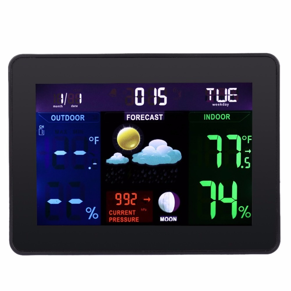 TS-70 Digital LCD Screen Display Wireless Indoor Outdoor Weather Clock Weather Station Tester Alarm Clock 2017 Top Sale<br>