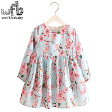 Retail 2-8 Milan Princess Dress Flax Long Sleeve Clothing Baby Girl Cute Korean Pink Floral Print Spring fall 2016 New