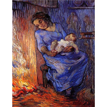 Hand Painted High Quality Vincent van Gogh Abstract Sleeping mother and child oil painting canvas Bedroom hallway Fine artwork