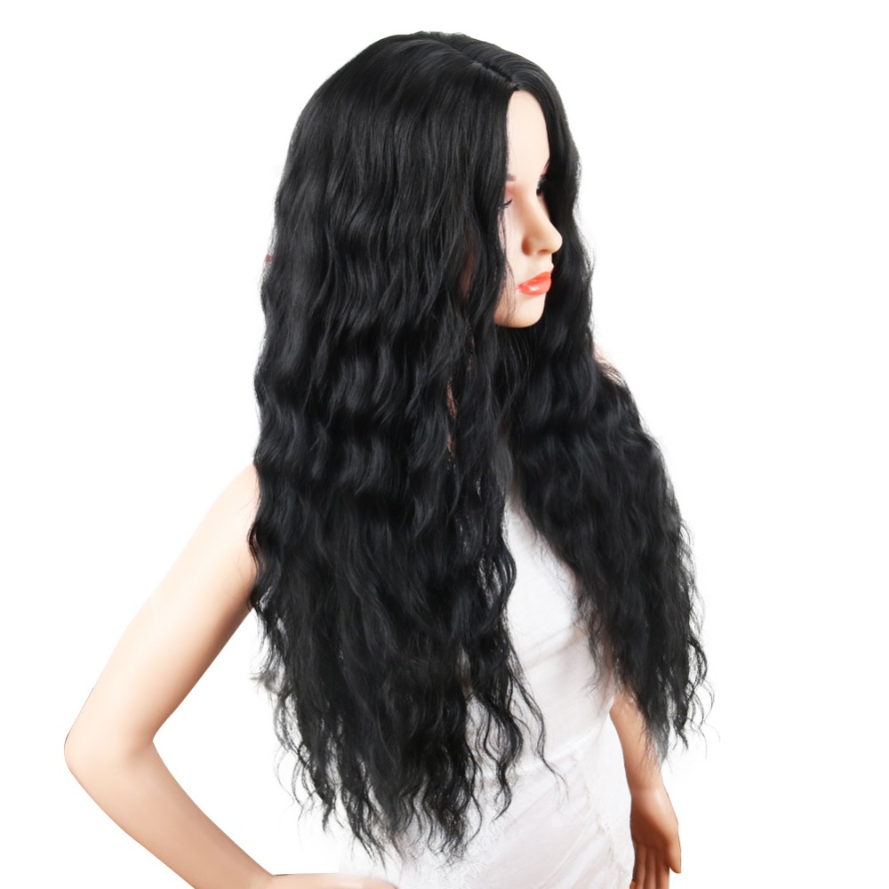 Deyngs Black Wavy Synthetic Wigs Natural Long Curly Wigs Loose Body Wave Wig Heat Resistant Full Wigs for African American Women (3)