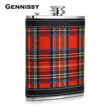 GENNISSY Bar and Outdoor Sports Flasks Portable 2016 New Plaid Print Metal Stainless Steel Hip Flask 8oz Mini Flask for Alcohol