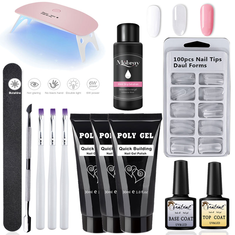 30g Extend Builder Gel uv lamp Brush Nail Tool Fake Tips thick jell gel slip solution liquid Poly nail Gel set