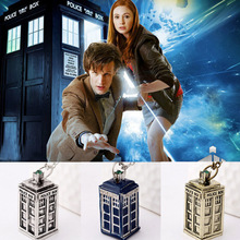 New Design Antique Silver Gold DOCTOR WHO Tardis Telephone Booth Police Box Retro Pendant & Necklace Men Women Necklace