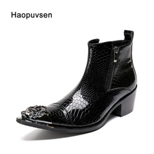 Fashion classic pointed toe men genuine leather Black Ankle boots Men Height Increased Fashion Dress Boots Plus Size US12(China)