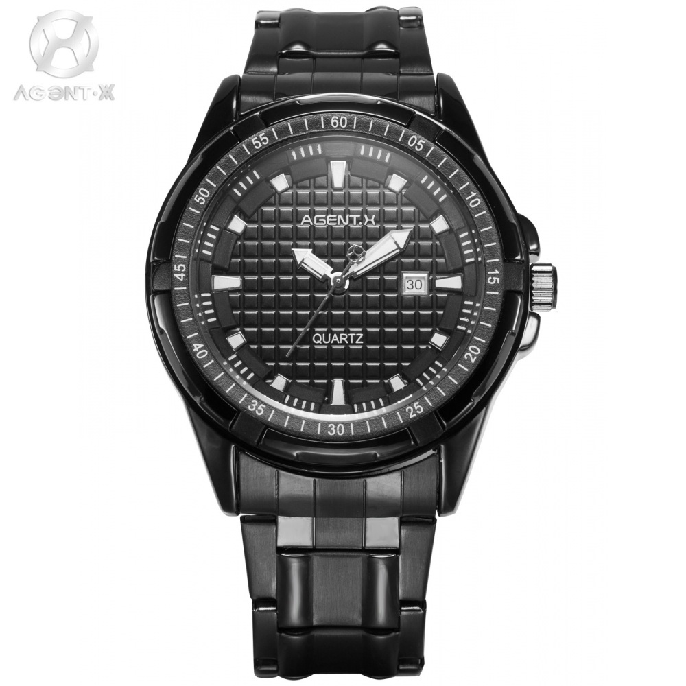 Fashion AGENTX Brand Sport Wristwatches Herren Uhr Stainless Steel Strap Clock Relogio Black Men Military Quartz Watch / AGX062<br>