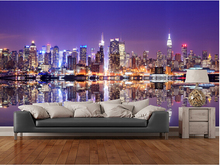 Custom photo wallpaper,Manhattan Reflections large 3d wallpaper mural for sofa kitchen Cafe tv background papel de parede(China)