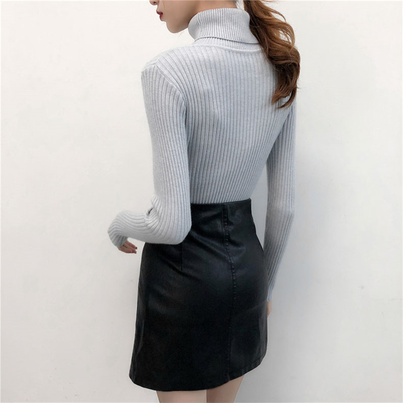 19 Women Sweater casual solid turtleneck female pullover full sleeve warm soft spring autumn winter knitted cotton 7