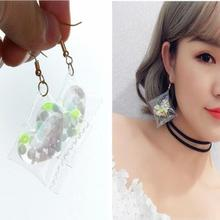 ey762 New listing Cute girl manual Making sweet transparent candy color love peach heart Female earrings jewelry(China)