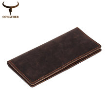 COWATHER 2017 new men wallets vintage cow crazy horse luxury leather good Manual male purse carteira masculina free shipping