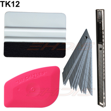Car Window Film Vinyl Wrap Decal Installation Tool kit pink felt squeegee safe knife blades Vehicle Foil Wrap Vinyl Tools TK12(China)
