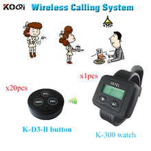 Restaurant call center equipment system with receiver and paging buzzer ( 1 watch pager +20 table bell button)(China)